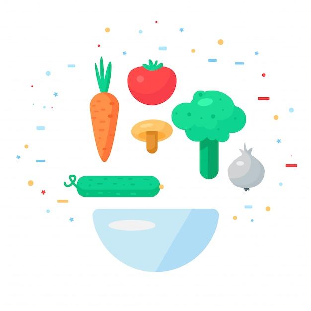 Vegetarischer welttag Premium Vektoren