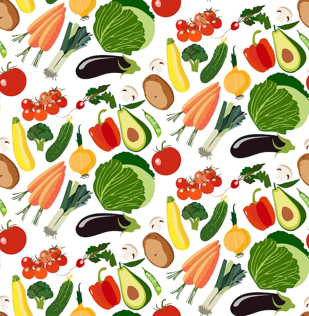 Vegetarisches gesundes nahtloses muster des organischen gemüses Premium Vektoren