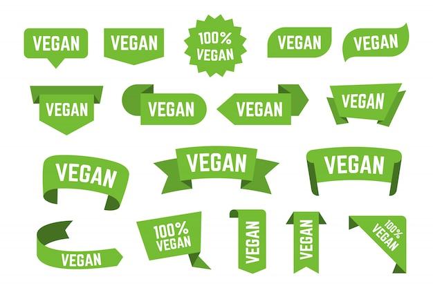 Veggie bio diät logos flache symbolsammlung Kostenlosen Vektoren
