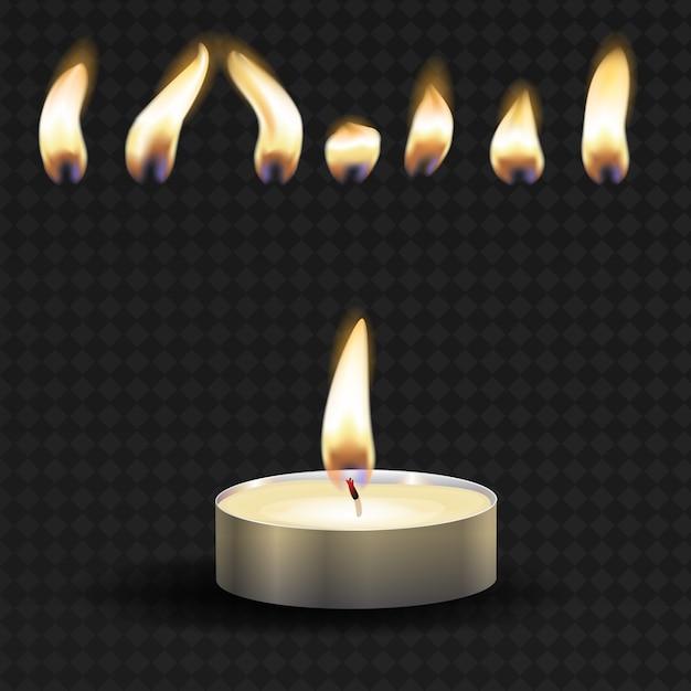Vektor 3d brennendes realistisches kerzenlicht oder teelicht und verschiedene flamme eines kerzensymbolsatzes Premium Vektoren