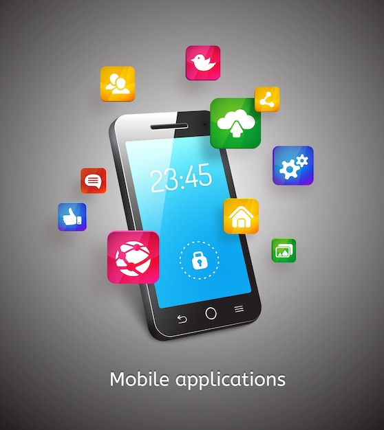 Vektor 3d smartphone mit wolken und anwendungs-app-symbolen Kostenlosen Vektoren