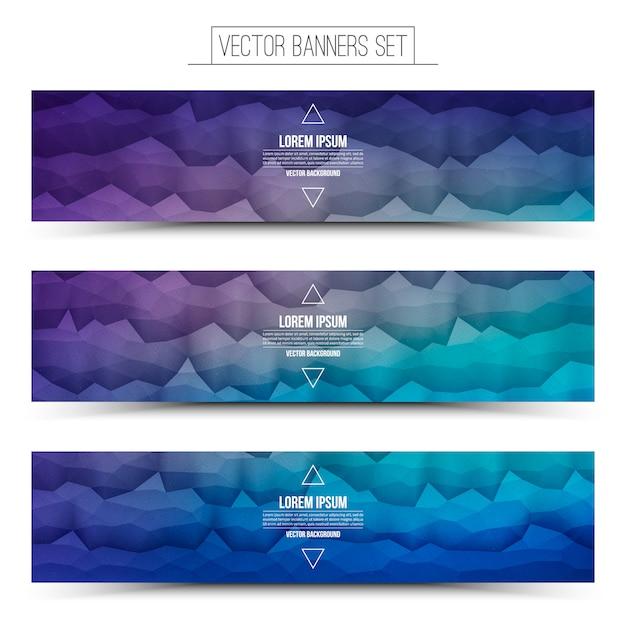Vektor-abstrakte technologie violet blue web banners set Premium Vektoren