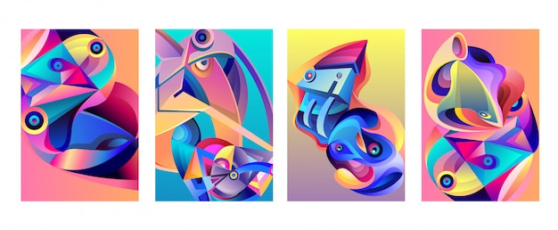 Vektor-abstrakter bunter geometrischer kurviger musterhintergrund satz Premium Vektoren