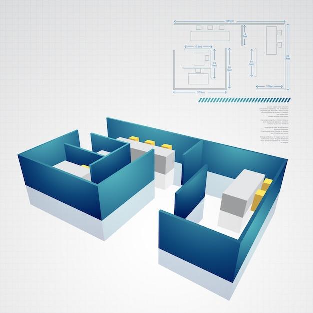 Vektor architektonische technische zeichnung Premium Vektoren
