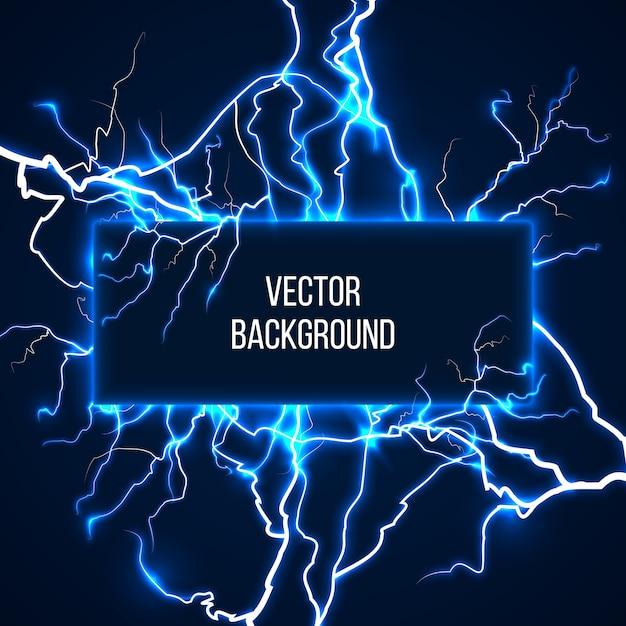 Vektor-banner mit blitzen und entladestrom. elektrizität, spannungssturm, wetter naturillustration Kostenlosen Vektoren