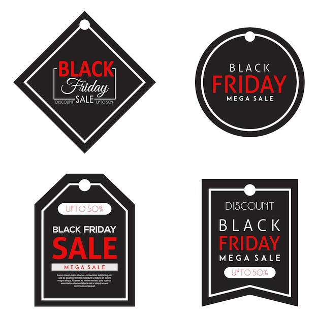 Vektor black friday tags sammlung Premium Vektoren