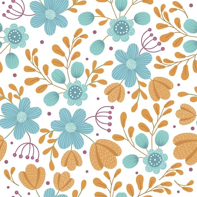 Vektor blumen nahtloser raum. hand gezeichnete flache einfache illustration mit orange und blauen blumen und blättern. wiederholtes muster mit wiese, wald, waldpflanzen. Premium Vektoren
