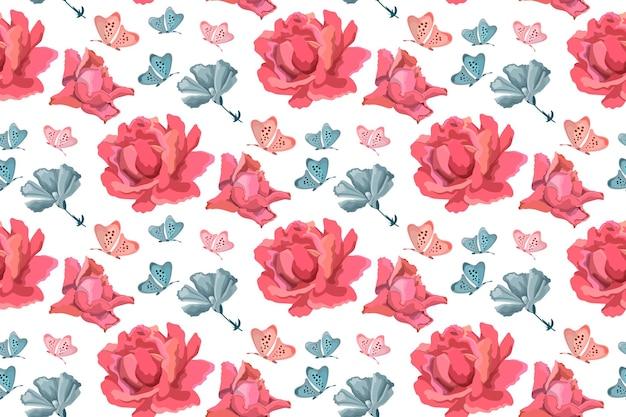 Vektor blumen nahtloses muster. blumenhintergrund mit rosa rosen, blauen gartenblumen und schmetterlingen auf weiß. Premium Vektoren