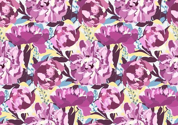 Vektor blumen nahtloses muster mit pfingstrosenblüten. lila pfingstrosen, blaue, kastanienbraune und gelbe blätter auf einem weißen hintergrund. zur dekorativen gestaltung von oberflächen. Premium Vektoren