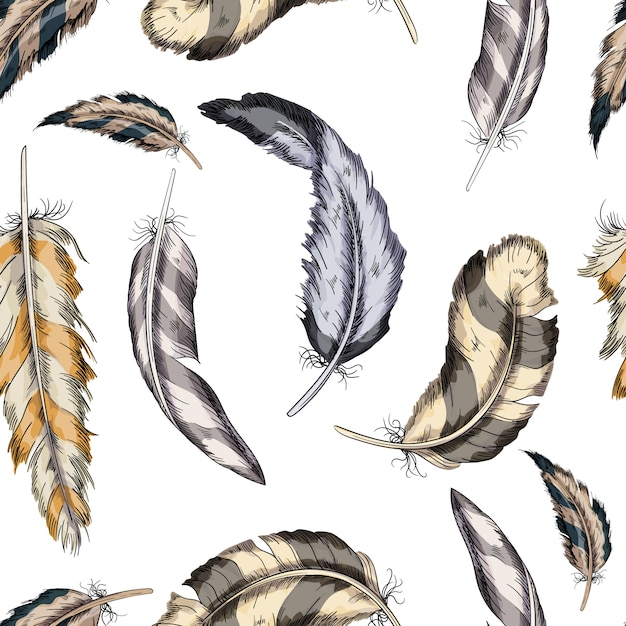 Vektor bunte nahtlose musterfedern vogel Premium Vektoren