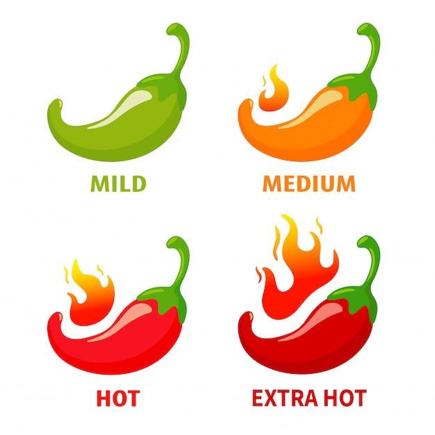 Vektor-chilischoten, die heiß sind, bis das feuer brennt. würziges mexikanisches essen. auf weißem hintergrund isolieren. Premium Vektoren