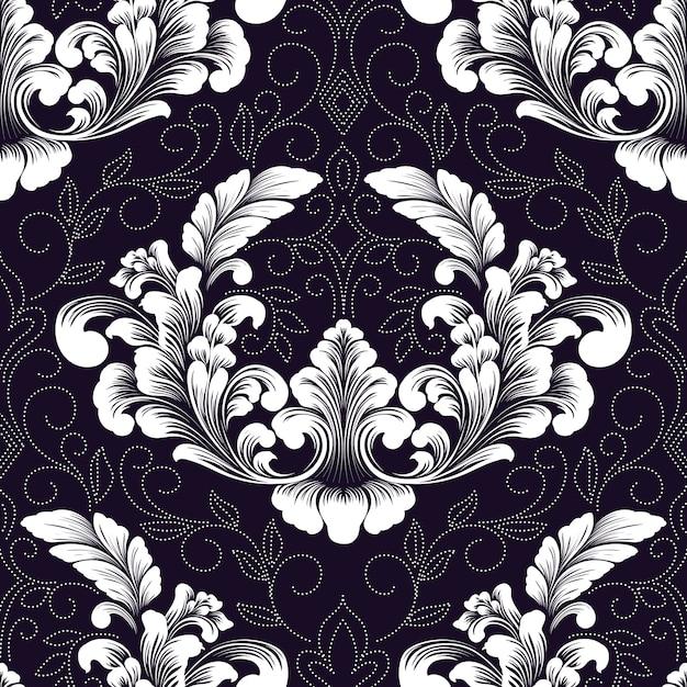 Vektor damast nahtloses musterelement. klassische luxus altmodische damastverzierung, königliche viktorianische nahtlose beschaffenheit für tapeten, textil, verpackung. Kostenlosen Vektoren