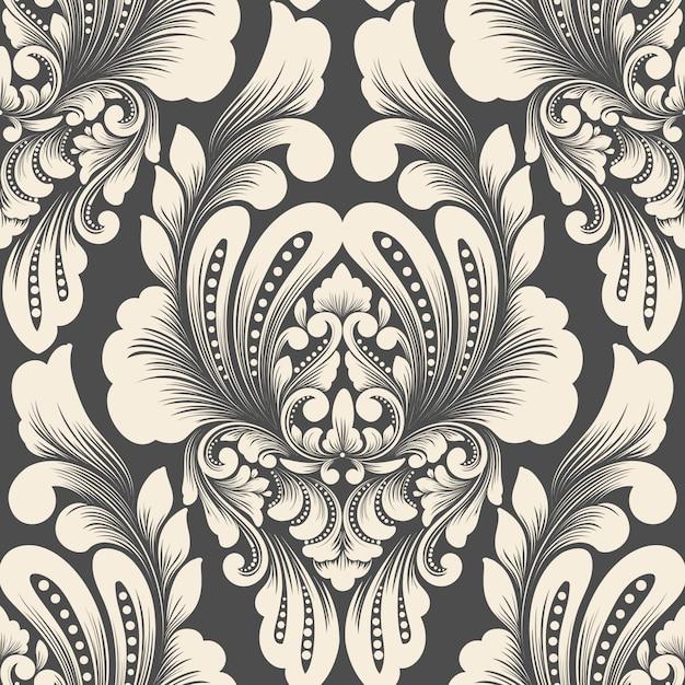 Vektor damast nahtloses musterelement. klassische luxus altmodische damastverzierung, königlicher viktorianischer stil Kostenlosen Vektoren
