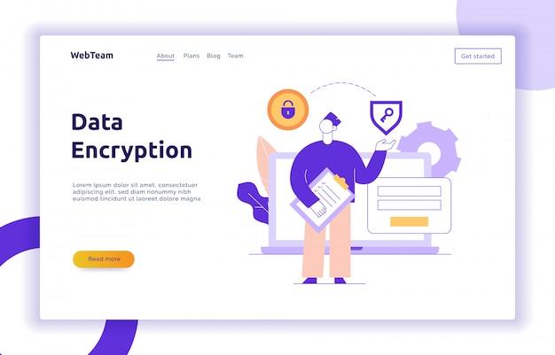 Vektor-datenverschlüsselungs-webseiten-online-banner-vorlage Premium Vektoren