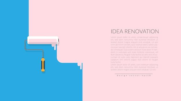 Vektor der farbenrolle malende rosa farbe auf blauer wand Premium Vektoren