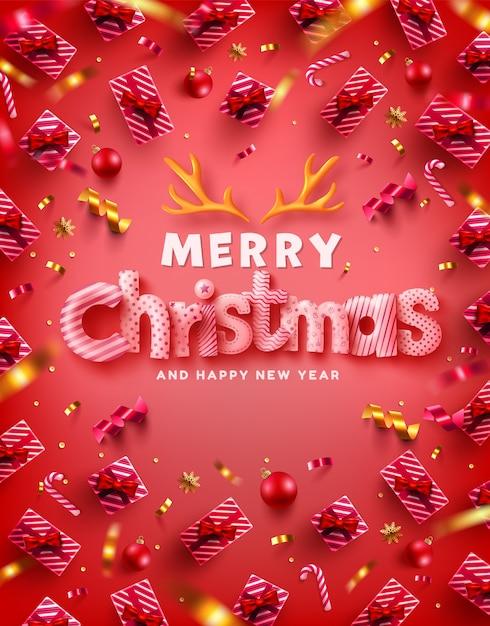 Vektor der frohen weihnachten u. frohes neues jahr promotion poster oder banner Premium Vektoren