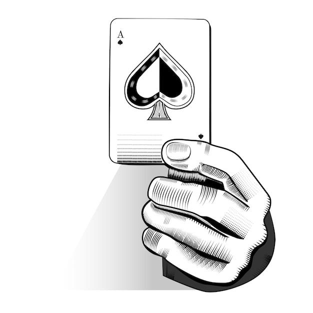 Vektor der hand zufällige spielkarte halten Premium Vektoren