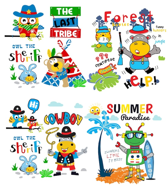 Vektor der lustigen karikatur gesetzter für babyt-shirt und anderen gebrauch Premium Vektoren