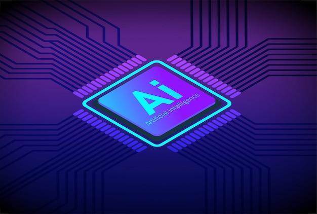 Vektor der zukünftigen technologie künstlicher intelligenz cpu Premium Vektoren