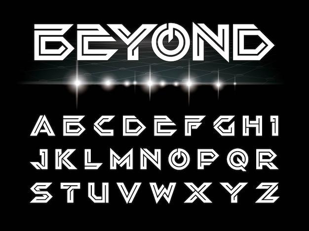Vektor des futuristischen gusses und des alphabetes Premium Vektoren