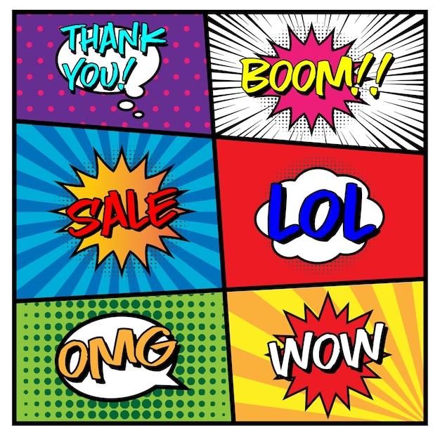 Vektor des komischen sprache-blasen-satzes Premium Vektoren