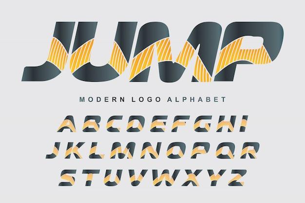 Vektor des stilisierten bunten gusses und des alphabetes für logodesigne Premium Vektoren