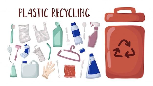Vektor eingestellt - plastikabfall und abfallbehälter, plastikwiederverwertung Premium Vektoren