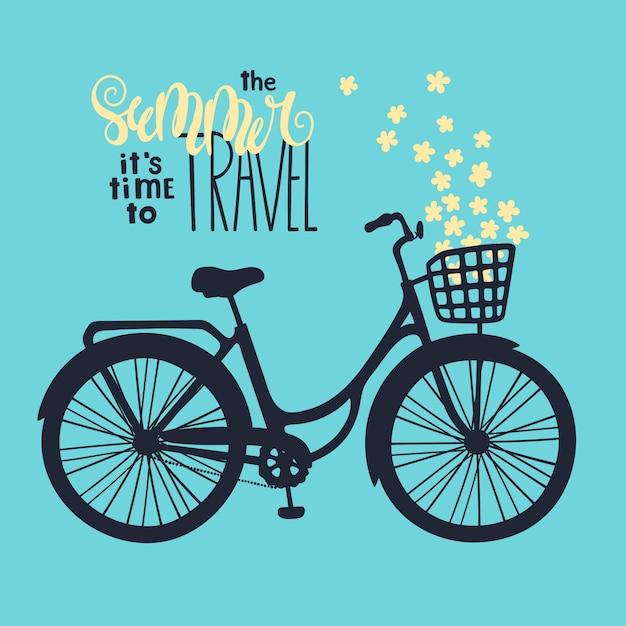 Vektor fahrrad im vintage-stil. schriftzug: im sommer ist es zeit zu reisen. Premium Vektoren