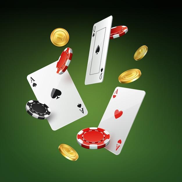 Vektor fallende spielkarten, goldmünzen und schwarze, rote kasinochips lokalisiert auf grünem hintergrund Kostenlosen Vektoren