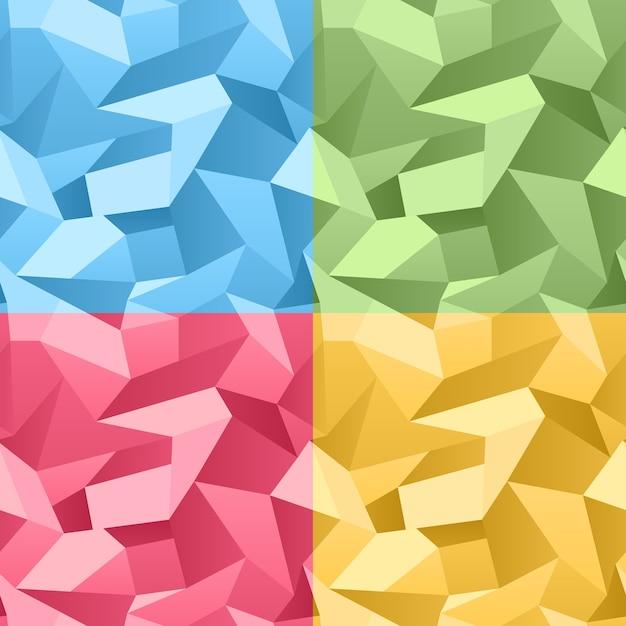 Vektor farbiger nahtloser 3d zerknitterter abstrakter kristallhintergrund Kostenlosen Vektoren