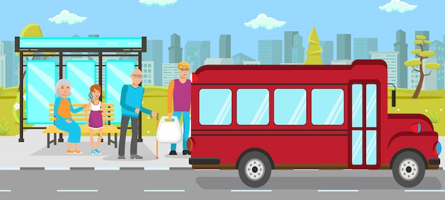 Vektor-flache illustration der bushaltestelle-öffentlichen transportmittel Premium Vektoren