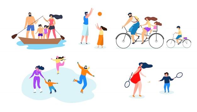 Vektor-flache illustrations-familien-aktiver lebensstil. Premium Vektoren