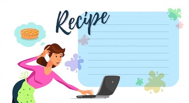 Vektor-flache mutter, die cake recipe auf laptop überwacht. Premium Vektoren