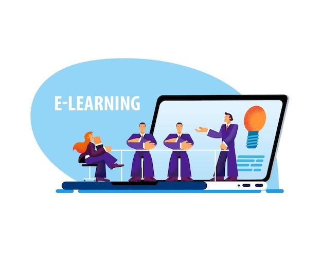 Vektor-flacher fahnen-e-learning-laptop-kleiner mann. Premium Vektoren