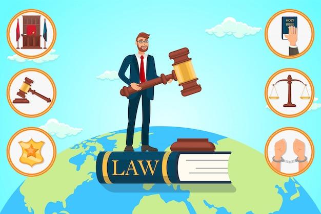 Vektor-flacher illustrations-rechtsanwalt stützt sich auf gesetz. Premium Vektoren