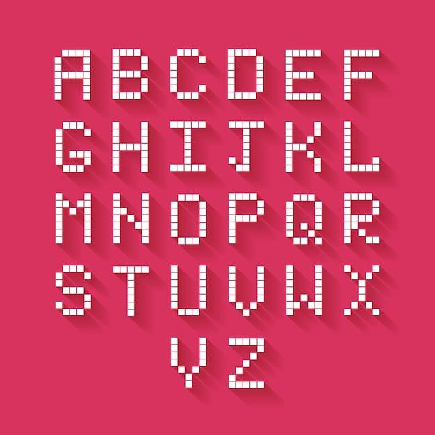 Vektor flaches pixel-alphabet mit langem schatten Kostenlosen Vektoren
