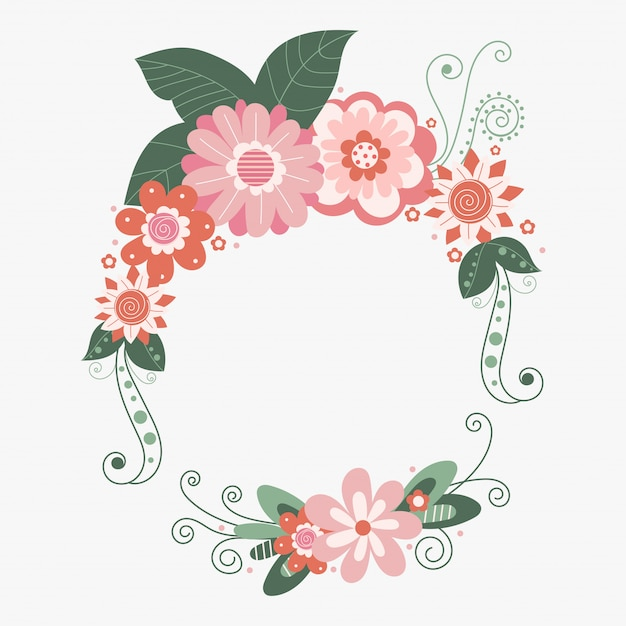 Vektor floral frame mit blumen Premium Vektoren