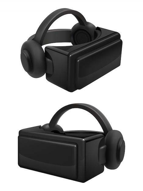 Vektor für headset und stereoskopische virtual-reality-brille. realistische vr-brille und kopfhörer isoliert Premium Vektoren