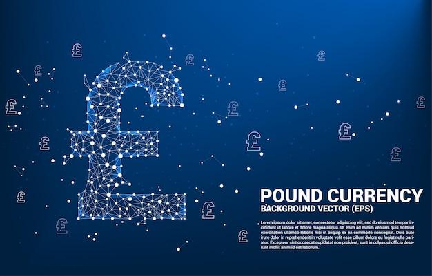 Vektor geld pfund sterling währungssymbol aus polygon punkt verbinden linie. konzept für britische finanznetzwerkverbindung. Premium Vektoren