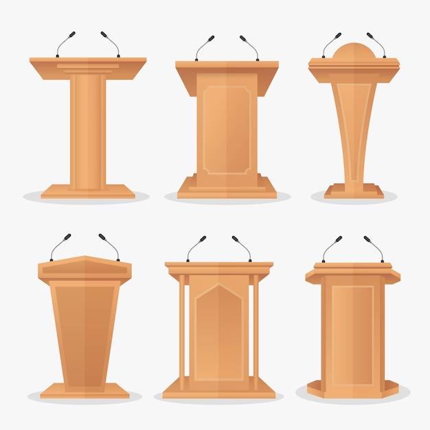 Vektor gesetzt hölzerne podium tribüne mit mikrofonen Premium Vektoren