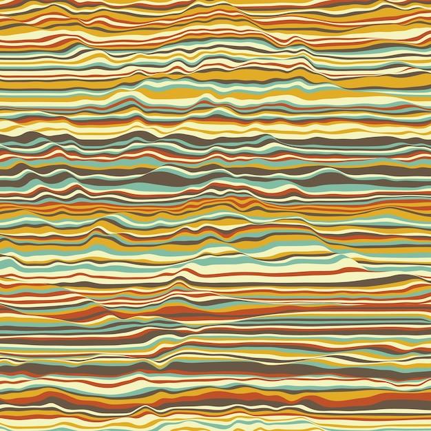 Vektor gestreifter hintergrund. abstrakte farbwellen. schallwellenschwingung. funky gekräuselte linien. elegante wellige textur. oberflächenverzerrung. bunter hintergrund. Kostenlosen Vektoren