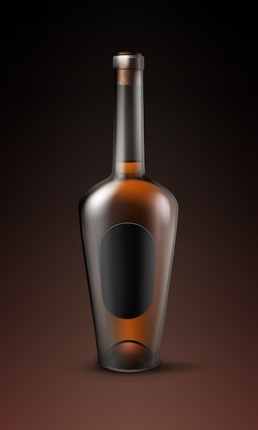 Vektor glänzende braune glasflasche des cognacbrands mit der ovalen schwarzen etikettenvoransicht lokalisiert auf dunklem hintergrund Kostenlosen Vektoren