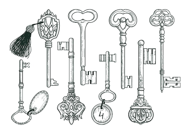 Vektor hand gezeichnete antike schlüssel. Premium Vektoren