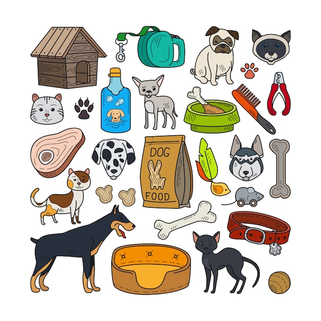 Vektor hand gezeichnete katzen und hunde Premium Vektoren