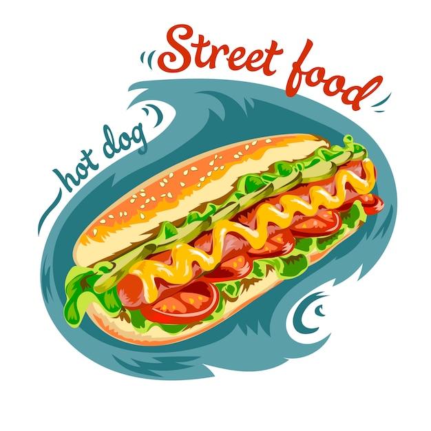 Vektor hot-dog abbildung Premium Vektoren