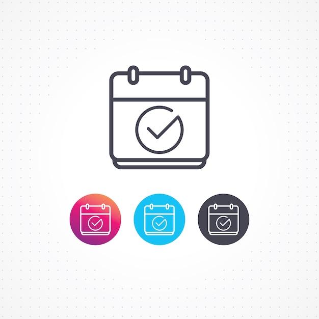 Vektor icon kalender mit häkchen Premium Vektoren