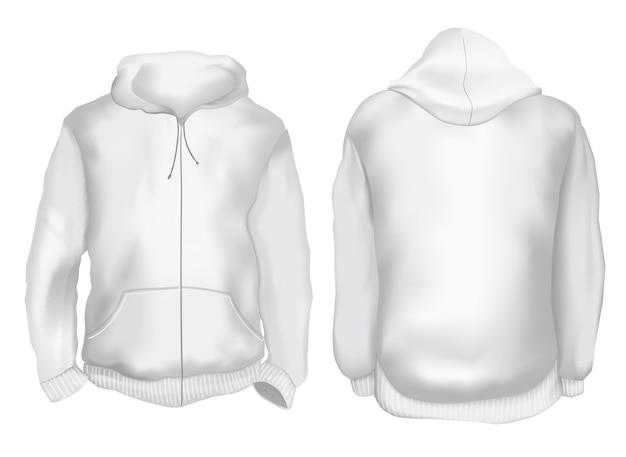 Vektor-illustration. blank hoodie jacke vorne und hinten. isoliert auf weiss Premium Vektoren