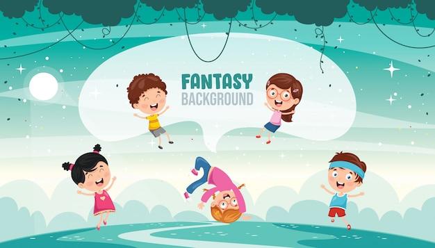 Vektor-illustration der fantasielandschaft Premium Vektoren
