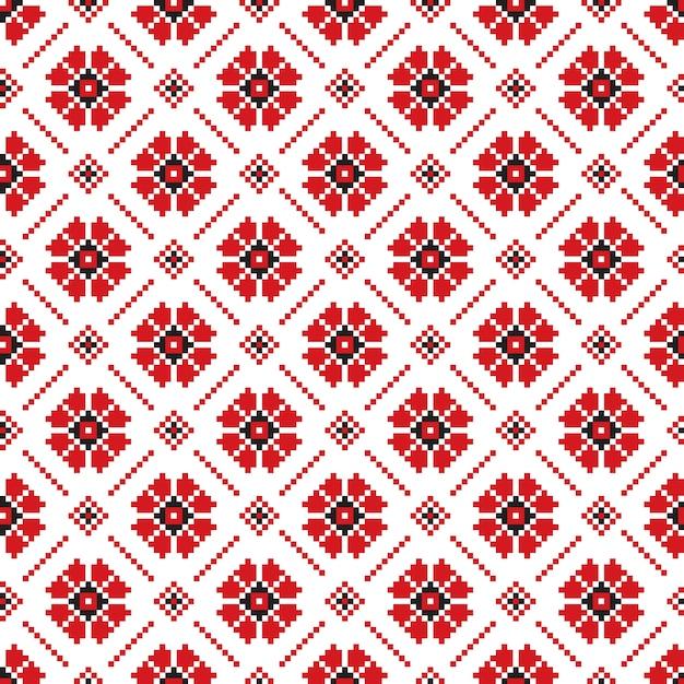 Vektor-illustration der ukrainischen folk nahtlose muster ornament. ethnische verzierung. randelement. traditionelle ukrainische, belarussische volkskunst gestrickt stickerei muster - vyshyvanka Kostenlosen Vektoren