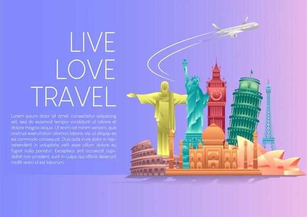 Vektor-illustration der welt tourismus tag poster banner mit weltberühmten sehenswürdigkeiten und touristischen zielen elemente. Premium Vektoren